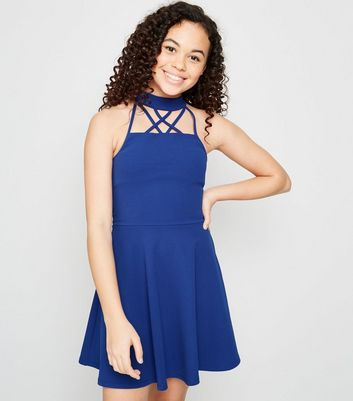 Girls Blue Strappy Halterneck Skater Dress