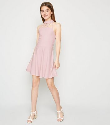 Girls Pink Strappy Halterneck Skater Dress