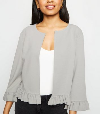 Petite Dark Grey Frill Hem Jacket
