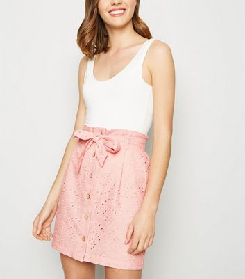 Pale Pink Broderie Paperbag Button Up Skirt