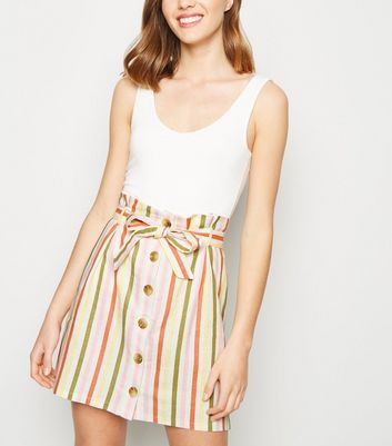 White Stripe Linen Blend Button Up Mini Skirt