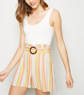 White Stripe Linen Blend Buckle Shorts