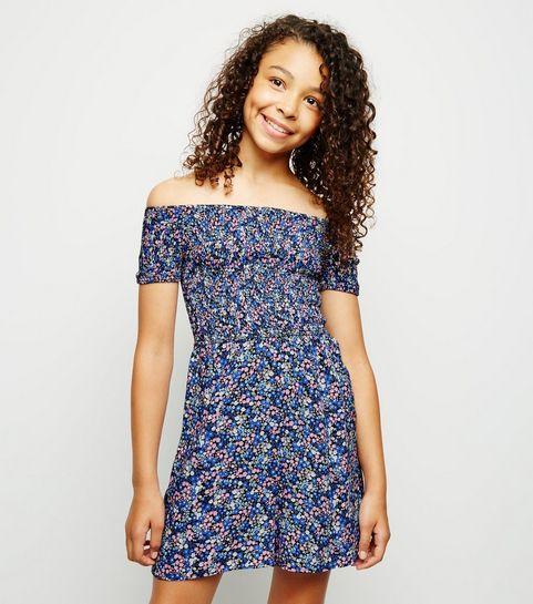 3cb094da9b ... Girls Blue Floral Shirred Bardot Playsuit ...