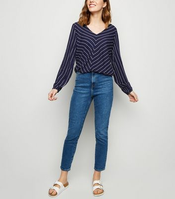 Apricot Navy Stripe Chiffon Top