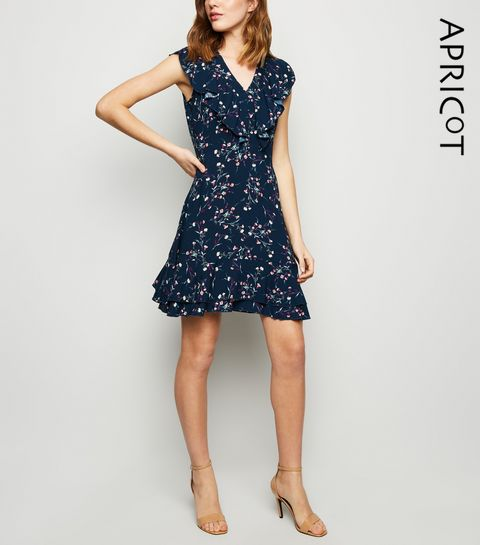 d4bc7778b3 ... Apricot Navy Ditsy Floral Frill Dress ...