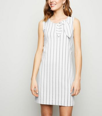 Apricot White Stripe Bow Neck Dress