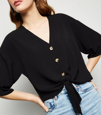 Apricot Black Button Up Tie Front Top New Look