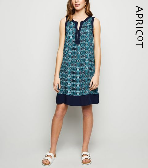 b4a5c340b16fd6 ... Apricot Blue Tile Print Tunic Dress ...