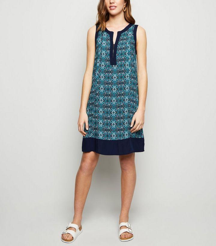 4ddaf3d5f52 Apricot Blue Tile Print Tunic Dress