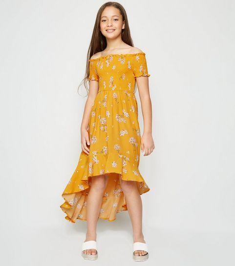 e3a57d0bb ... Girls Yellow Floral Shirred Dip Hem Dress ...