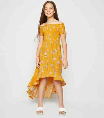 Girls Yellow Floral Shirred Dip Hem Dress