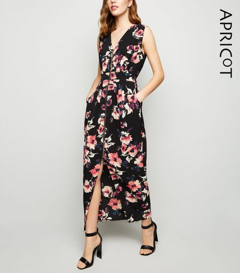 29e0b9981ce ... Apricot Black Floral Zip Front Maxi Dress ...
