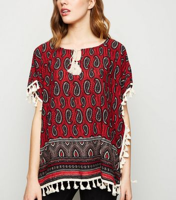 Apricot Red Paisley Tassel Trim Top