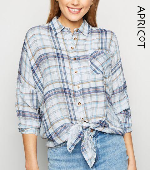 15e4c8657b23bc ... Apricot Blue Check Tie Front Oversized Shirt ...