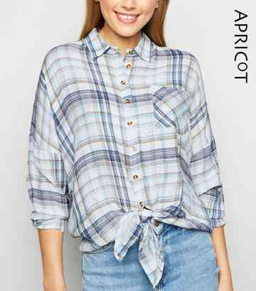 Apricot Blue Check Tie Front Oversized Shirt