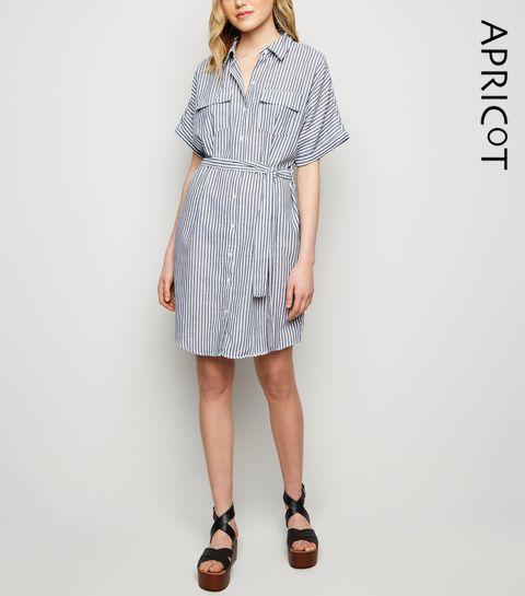 ada686d843fd5f ... Apricot Blue Stripe Batwing Shirt Dress ...