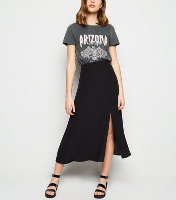 Black Split Side Midi Skirt