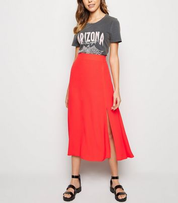 Red Split Side Midi Skirt