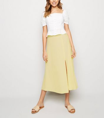 Pale Yellow Split Side Midi Skirt