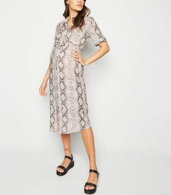Maternity Pink Snake Print Midi Shirt Dress