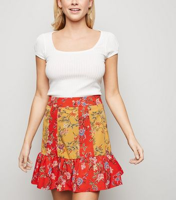 Brave Soul Red Mixed Floral Mini Skirt