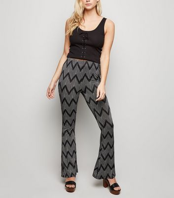 Brave Soul Black Zig Zag Flared Trousers New Look