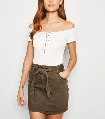 Parisian Khaki Paperbag Tie Waist Denim Skirt