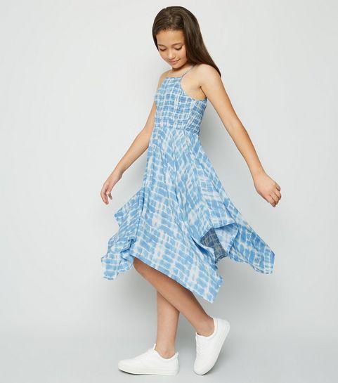fad17552d90 ... Girls Blue Tie Dye Hanky Hem Midi Dress ...