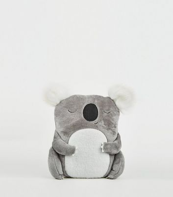 Pale Grey Sleeping Koala Fluff Cushion
