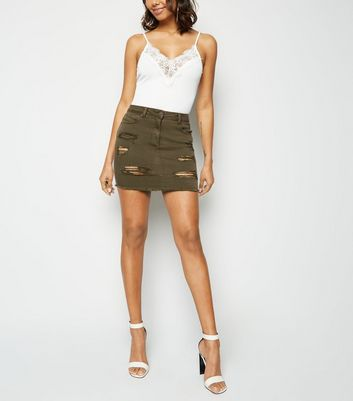 Parisian Khaki Ripped Raw Hem Denim Skirt