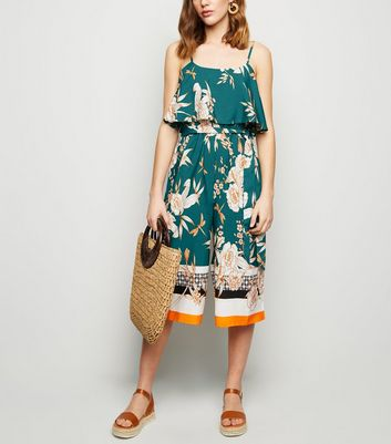 Influence Green Floral Border Print Culotte Jumpsuit
