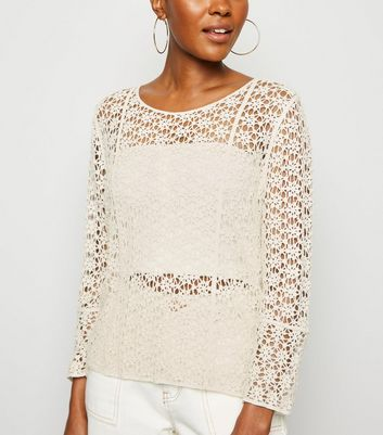 Cream Crochet Long Sleeve Top