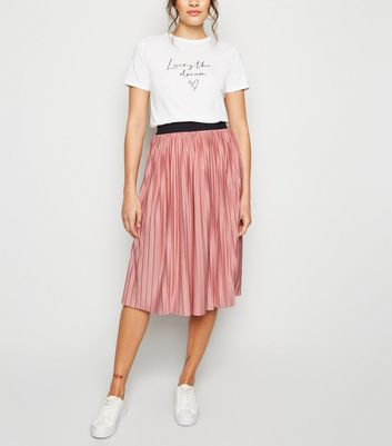 JDY Mid Pink Pleated Midi Skirt