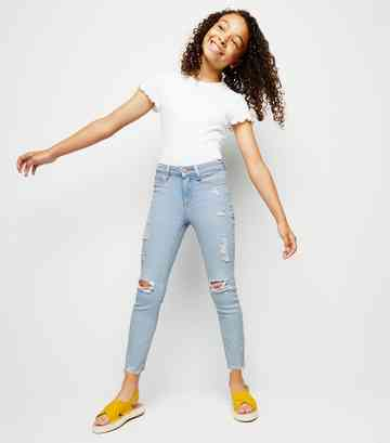 Girls Pale Blue Bleach Wash Skinny Jeans