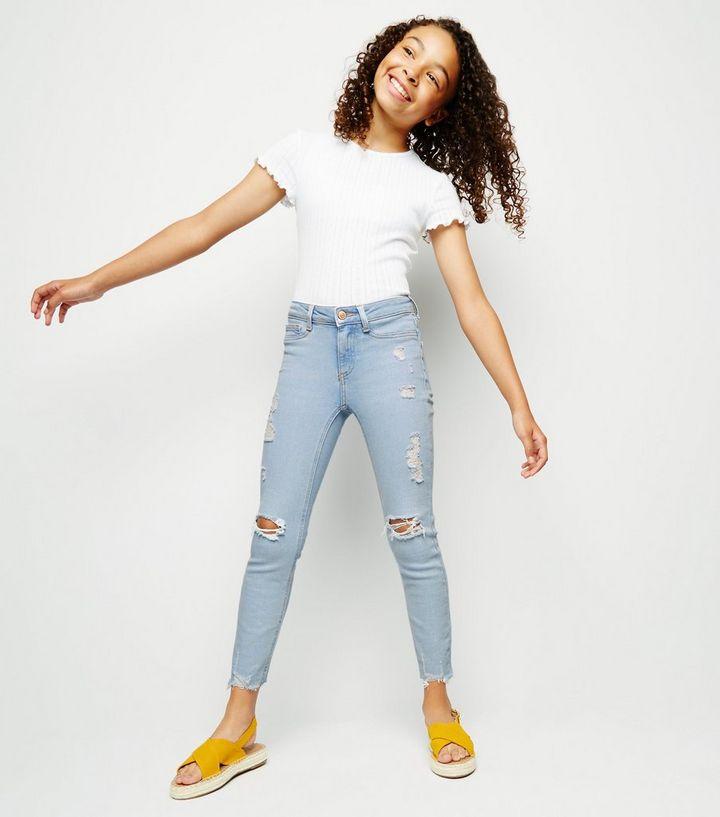 38443d4b1652 Girls Pale Blue Bleach Wash Skinny Jeans | New Look