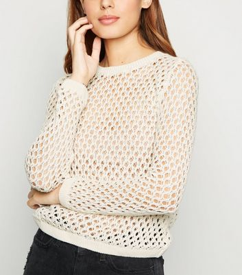 Cream Mesh Knit Jumper