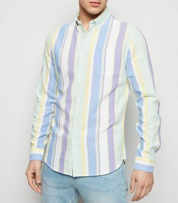 Multicoloured Vertical Pastel Stripe Long Sleeve Shirt