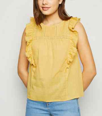Yellow Nep Lace Frill Trim Top