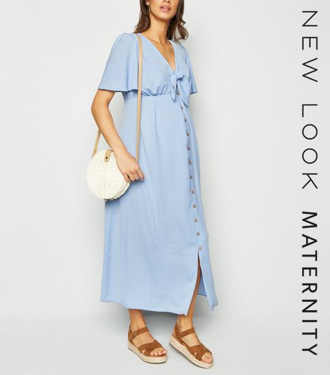 a66af8c350 ... Maternity Pale Blue Tie Front Midi Dress ...