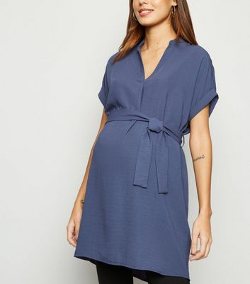 Maternity Blue Belted Overhead Tunic Dress