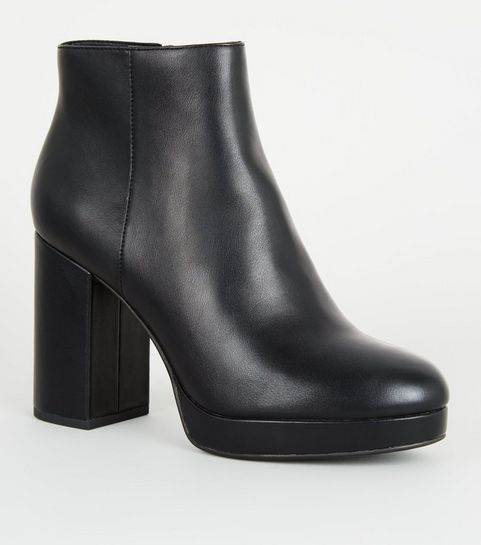 8e116f8f87c ... Black Leather-Look Platform Ankle Boots ...