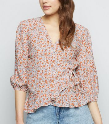 White Ditsy Floral Puff Sleeve Wrap Top