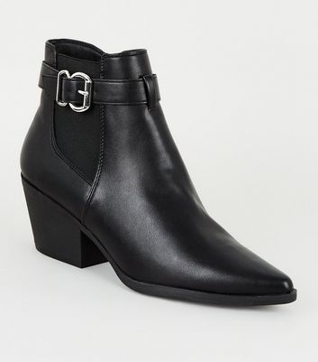 Black Leather-Look Pointed Chelsea Boots