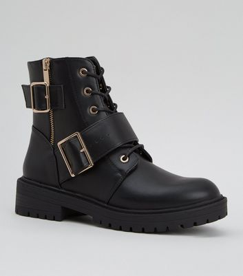 Black Leather-Look Lace Up Buckle Boots