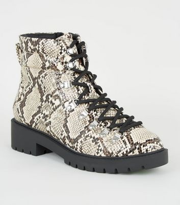 Stone Faux Snake Chunky Boots