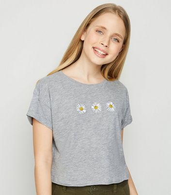 Girls Grey Daisy T-Shirt