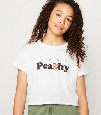 Girls White Peachy Slogan T-Shirt
