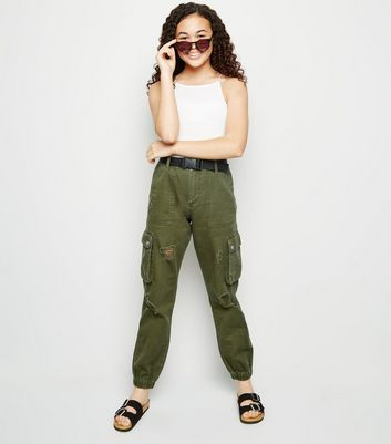 Girls Khaki Belted Ripped Utility Trousers