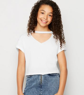Girls White Choker Cut Out T-Shirt