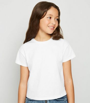 Girls - T-shirt blanc à coupe carrée